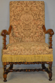 SOLD Large Barley Twist Walnut Arm Throne Chair