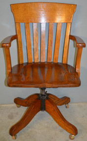 SOLD Antique Oak Bankers Lawyers Swivel Tilt Office Chair