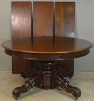 18582 Round Carved Walnut Table with 3 Leaves