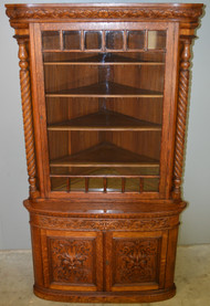 SOLD Victorian Oak Barley Twist Carved Corner Cabinet of Horner Quality