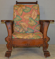 SOLD Victorian Oak Claw Foot Morris Chair – Original