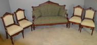18797 Victorian Five Piece Parlor Set – Burl Walnut