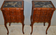 SOLD Pair of Walnut Carved Marble Top Nightstands