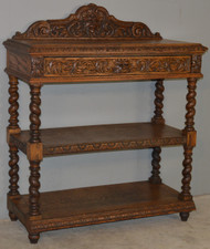 SOLD Oak Carved Dessert Server / Hall Table