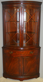 SOLD Antique Mahogany Corner China Cabinet by Drexel