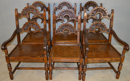 18594 Set of 6 Oak Heavily Carved Dining Chairs