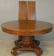 18742 Oak 54 Inch Round Banquet Empire Table - Refinished
