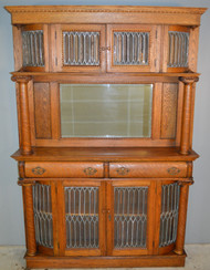 18847 Oak Leaded Mantle Cabinet