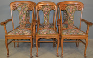 SOLD Set of 6 Heavily Carved Upholstered Oak Dining Chairs