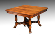 SOLD Antique Square Oak Claw Foot Dining Table with Two Leaves
