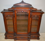 18841 Victorian Burl Walnut Triple Door Carved Bookcase