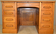 18910 Oak Raised Panel Flat Top Lawyers Desk