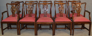 18873 Set of 10 Solid Mahogany Chippendale Dining Chairs