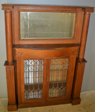 18875 Victorian Oak Mantle Cabinet with Leaded Glass & Pillars