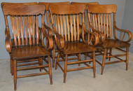 18879 Set of 6 Oak Rolled Arm Chairs – Rare