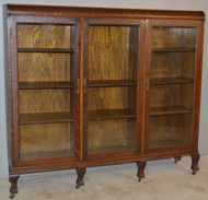 18893 Victorian Oak Claw Foot Three Door Bookcase