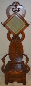 18923 Oak Tiger Sawn Carved Bevel Glass Hall Tree