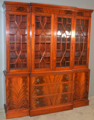 18747 Flame Mahogany Breakfront Step Back China Cabinet