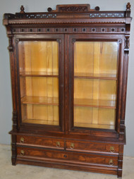SOLD Victorian Walnut Step Back Bookcase with Gallery