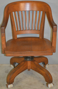 18822 Oak Barrel Back Swivel Lawyers Bankers Office Chair