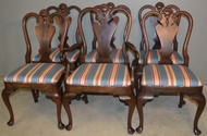 18846 Set of 6 Walnut Chippendale Queen Anne Dining Chairs