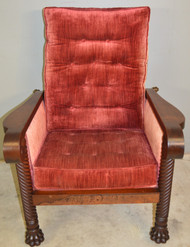 18885 Unusual Mahogany Claw Foot Morris Chair
