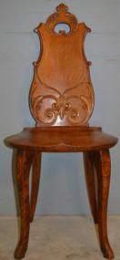 18918 Oak Carved Ladies Vanity Desk Chair