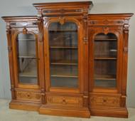 18764 Victorian Burl Walnut Carved Triple Door Bookcase