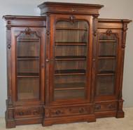 18773 Victorian Burl Walnut Triple Door Bookcase