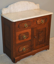 SOLD Victorian Burl Walnut Marble Top Commode