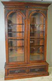 SOLD Victorian Burl Walnut Step Back Bookcase China Cabinet