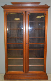 18849 Tall Victorian Step Back China Cabinet Bookcase