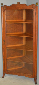 SOLD Oak Corner China Cabinet – Very Dainty