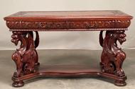 19868 Renaissance Revival Horner Style Mahogany Desk