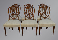 SOLD Set of Six Solid Mahogany Formal Dining Chairs - Hepplewhite