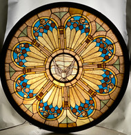 19886 Round Leaded Stain Glass window with Dove