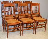 18999A Set of 6 Victorian Burl Walnut Dining Chairs