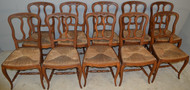18996 Set of 10 French Carved Oak Dining Chairs – Rare