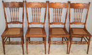 18994 Set of 4 Oak Press Back Dining Chairs – Early 1900's