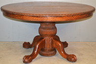 """18991 Oak Victorian 54"""" Fluted Carved Ball and Claw Dining Table"""