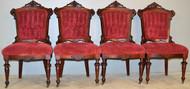 18948 Set of 4 Burl Walnut Renaissance Carved Chairs