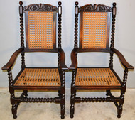 18945 Pair of Barley Twist Throne Chairs – Victorian