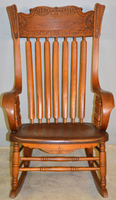 19559 Victorian Press Back Rolled Arm Office Rocking Chair – Extra Large