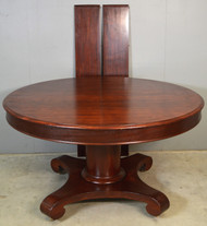 """18589 Round Mahogany Empire Banquet Table 54"""" w/2 Leaves"""