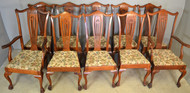 19638 Set of 10 Oak Formal Claw Foot Dining Chairs