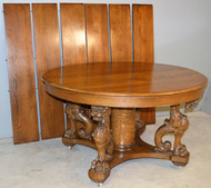 SOLD Antique Oak Banquet Table  w/ Full Standing Griffins – Horner Style