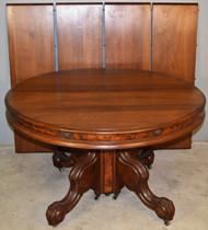 18929 Victorian Burl Walnut Banquet Table – Opens 12 Feet!