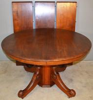 18935 Victorian Round Walnut Split Base Table w/3 Leaves-OPENS 12 FEET!