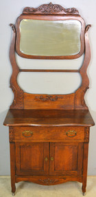 SOLD Victorian Carved Oak Bevel Glass Mirror Hotel Commode