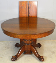 """19606 Round Oak Claw Foot Dining Table 45"""" w/2 Leaves"""